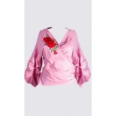 Puffed sleeve wrap blouse
