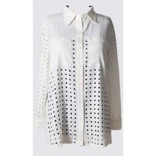 Square hole detail long sleeve shirt