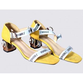 Two Part Block Heel Suede Sandals