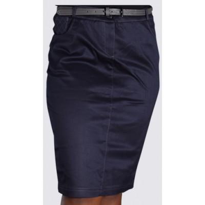 Denim design belted pencil skirt