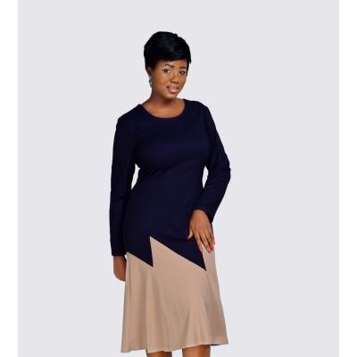 Colour block cotton mix dress