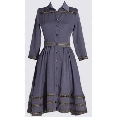 ¾ sleeve Skater/shirt dress