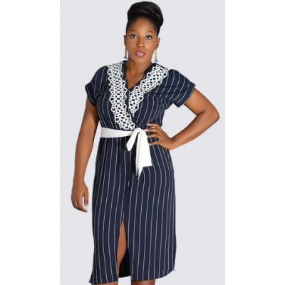 Stripped, elastic waist short sleeve dress