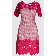 Cotton blend lace sheath dress