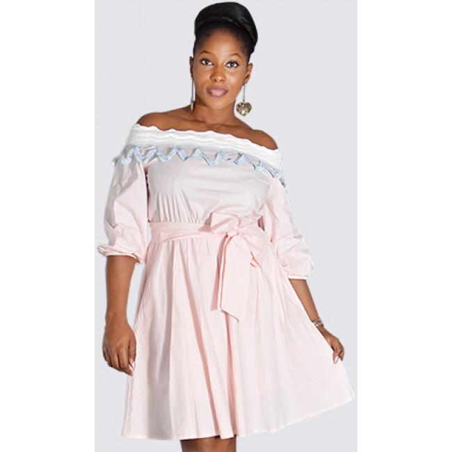 Off shoulder cotton rich skater dress