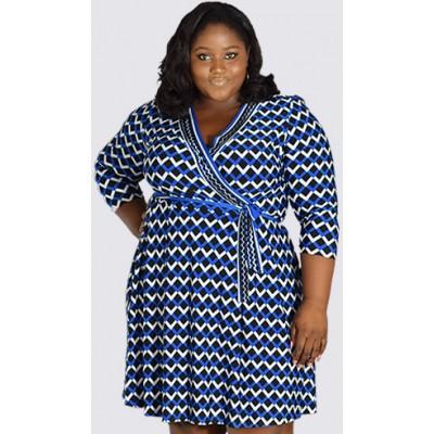 Curve print ¾ sleeve Wrap short dress