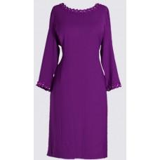 Embellished neckline ¾ sleeve dress