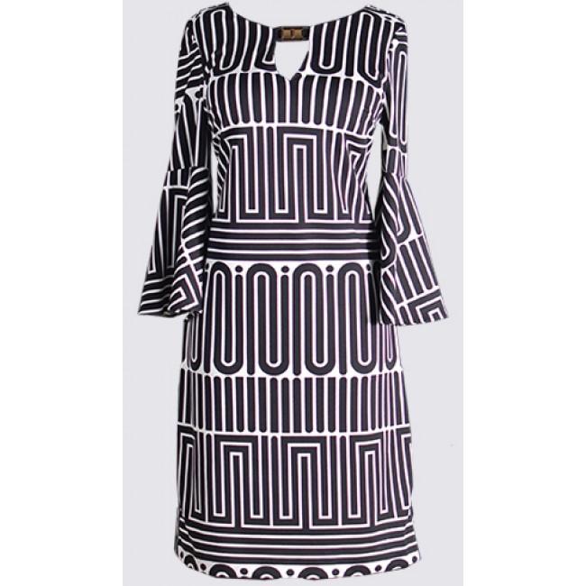 Bell sleeve, keyhole, sheath dress
