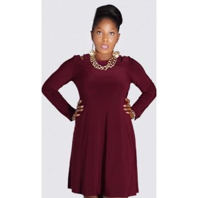 Cold shoulder long sleeve shift dress