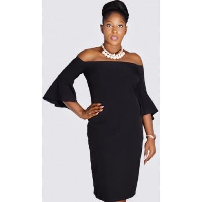 Off shoulder bell sleeve black sheath dress