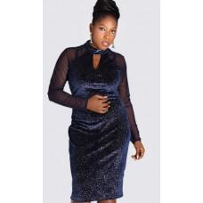 Glitter velvet key hole bodycon dress