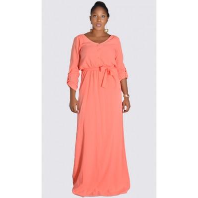 V necked 3/4 sleeve maxi dress