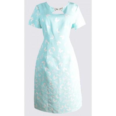 Embossed keyhole short sleeve sheath dress