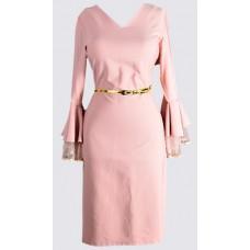 Bell sleeve V neck sheath dress