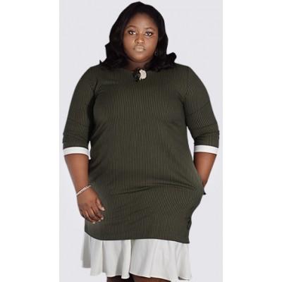¾ sleeve flared hem olive stripped dress