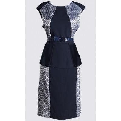Cap sleeve rich textured colour block peplum dress
