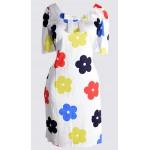 Floral print short sleeve cotton rich dress
