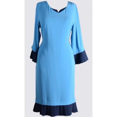 ¾ pleated detail sleeve and pleated hem sheath dress