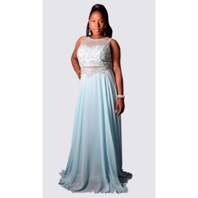 Embellished net and chiffon maxi dress