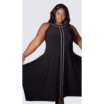 Sleeveless asymmetrical black dress