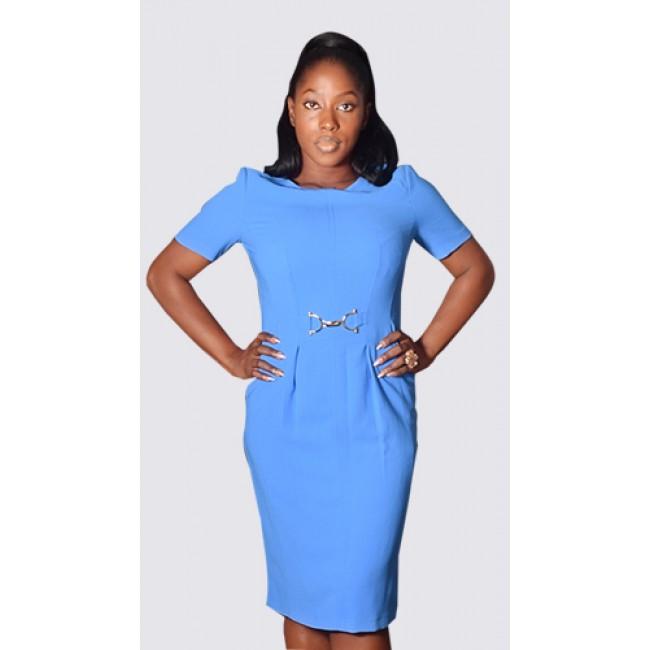 Short sleeve buckle detail dress