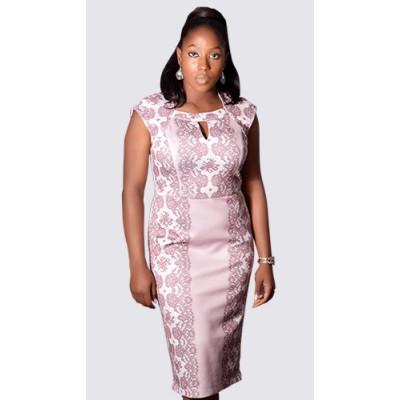 Floral and plain colour block pencil dress