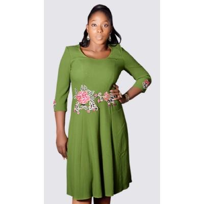 3/4 sleeve round neck flared dress