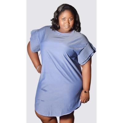 Pleated sleeve blue dress