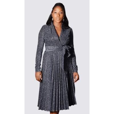 Subtle glitter long sleeve pleated dress