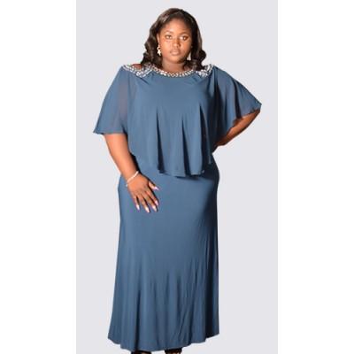 Cold shoulder caplet gown