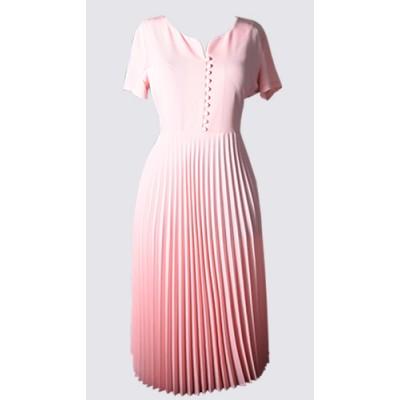 Short sleeve pleated dress