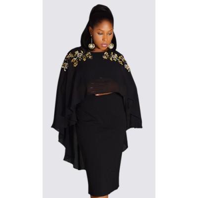 Subtle sequined caplet dress