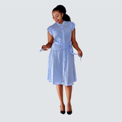 Striped short Sleeve Shirt Midi Dress