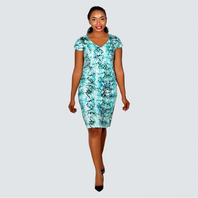 Green skin V neck dress