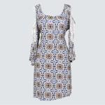 Lace detailed split cold shoulder dress