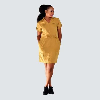Mustard puff sleeve dress