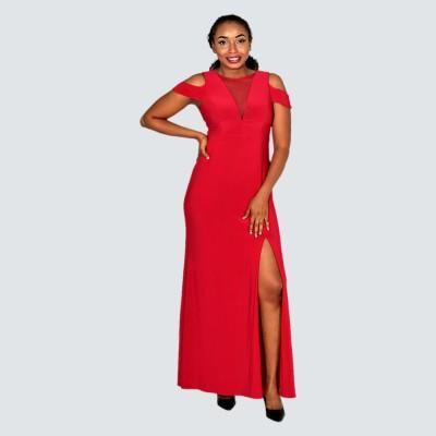 Cold shoulder slit maxi dress
