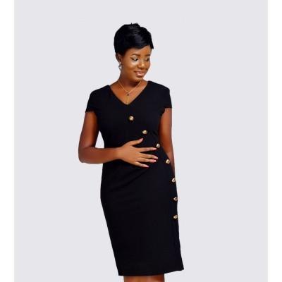 Faux wrap button detail dress
