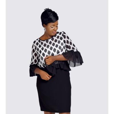 Chiffon overlay sheath dress