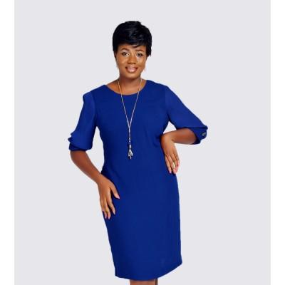 Wrinkled sleeve body fit dress