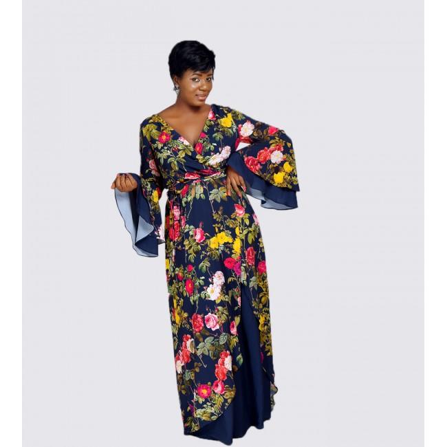 Printed faux wrap maxi dress