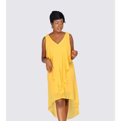 High-Low Flutter Dress
