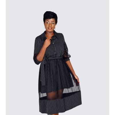 Stripe inspired overlay dress